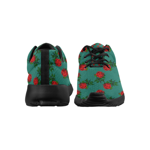 red roses teal green Women's Athletic Shoes (Model 0200)