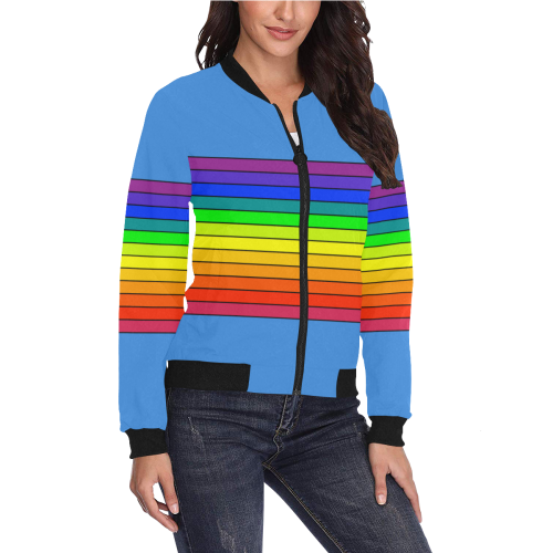 Colors Band Bomber Jacket for Women All Over Print Bomber Jacket for Women Mach II All Over Print Bomber Jacket for Women (Model H36)