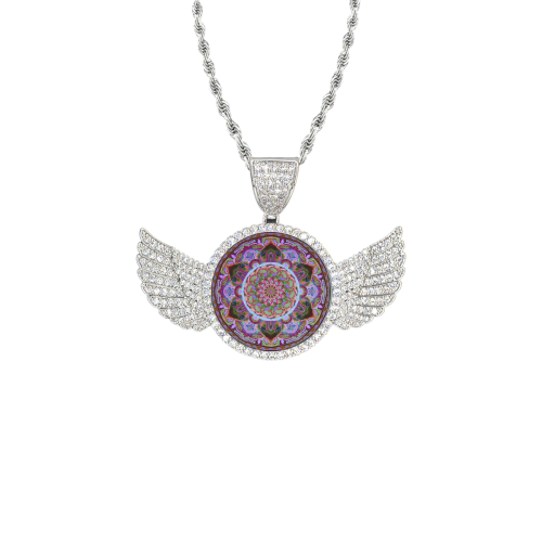 indian mandala Wings Silver Photo Pendant with Rope Chain