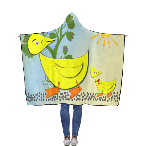 Duck and duckling Flannel Hooded Blanket 50''x60''