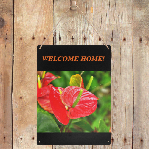 "Tropical flowers - welcome home - DSC0428 Metal Tin Sign 12""x16"""