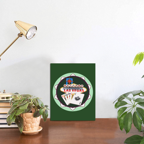 "LasVegasIcons Poker Chip - Poker Hand on Green Photo Panel for Tabletop Display 6""x8"""
