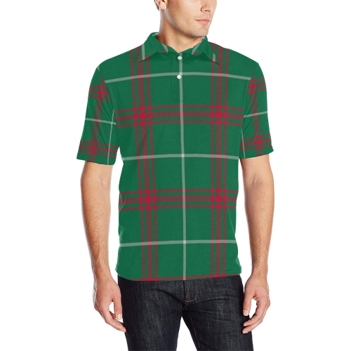 Welsh National Tartan Men's All Over Print Polo Shirt (Model T55)