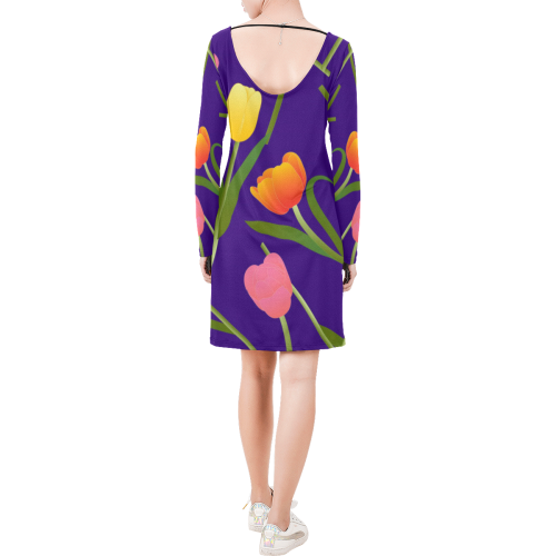 Tulips Long Sleeve String Tie Dress (Model D54)