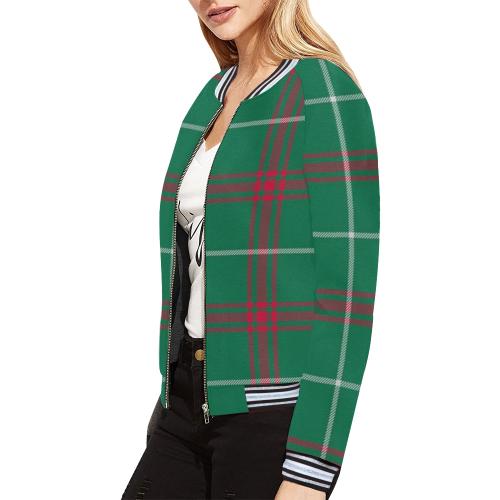 Welsh National Tartan All Over Print Bomber Jacket for Women (Model H21)