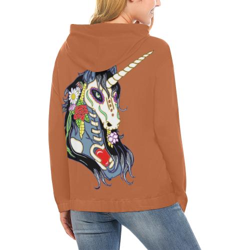 Spring Flower Unicorn Skull Rust All Over Print Hoodie (for Women)
