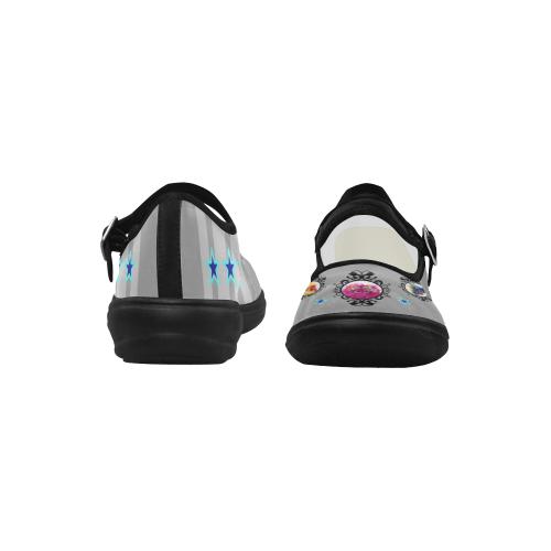 Gray-Striped Mary Janes Mila Satin Women's Mary Jane Shoes (Model 4808)