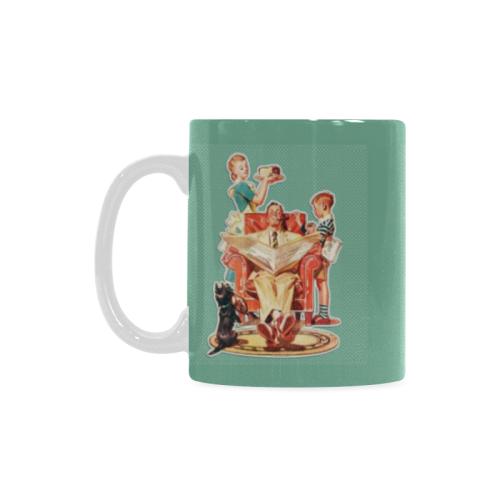 Retro_Vintage_50s_Father_Mother_Son_Dog Custom White Mug (11oz)