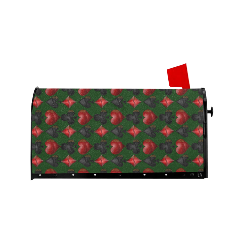 Las Vegas Black and Red Casino Poker Card Shapes on Green Mailbox Cover