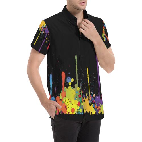 Crazy multicolored running SPLASHES Men's All Over Print Short Sleeve Shirt (Model T53)