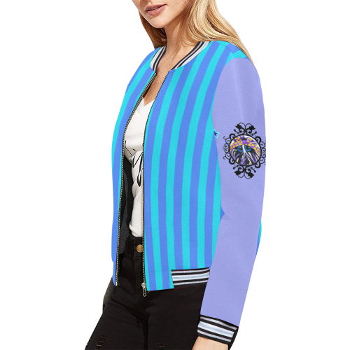 Stripes_Back_Bold All Over Print Bomber Jacket for Women (Model H21)