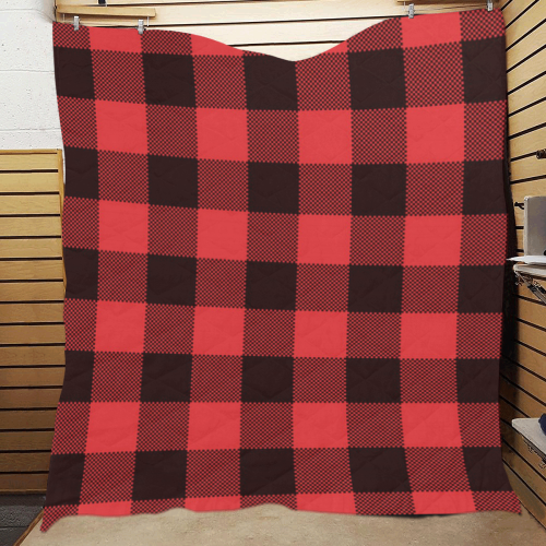 "Black and Red Buffalo print Quilt 60""x70"""
