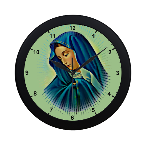 Mother Mary Circular Plastic Wall clock