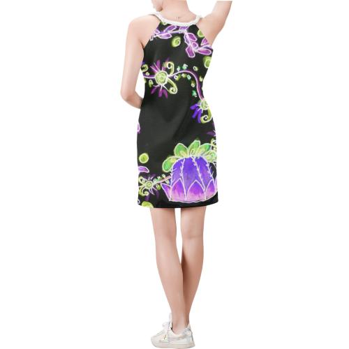 Psychedelic Irish Garden Queen's Crown Night Sleeveless V Neck Dress (Model D55)