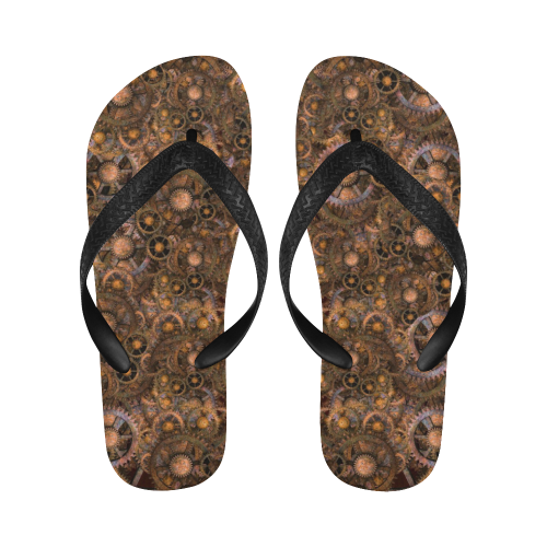 Steampunk Cogs Flip Flops for Men/Women (Model 040)