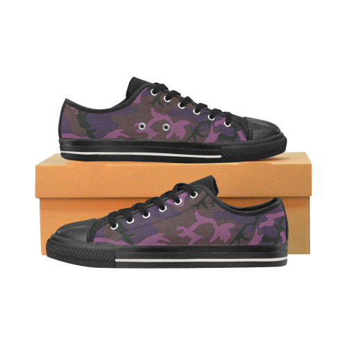Camouflage violet Low Top Canvas Shoes (for Women)