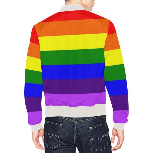 Rainbow Flag (Gay Pride - LGBTQIA+) All Over Print Bomber Jacket for Men (Model H19)