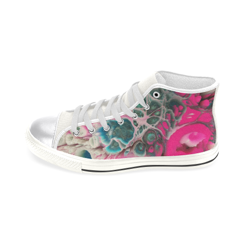 raspberry galaxie burst Women's Classic High Top Canvas Shoes (Model 017)