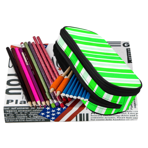 Neon Green Stripes Pencil Pouch/Large (Model 1680)
