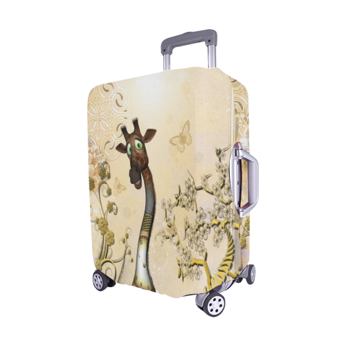 "Funny steampunk giraffe Luggage Cover/Medium 22""-25"""