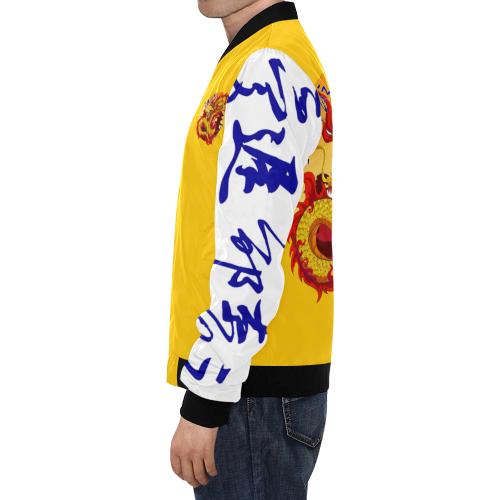 Honor & Strength Golden Dragon All Over Print Bomber Jacket for Men (Model H19)
