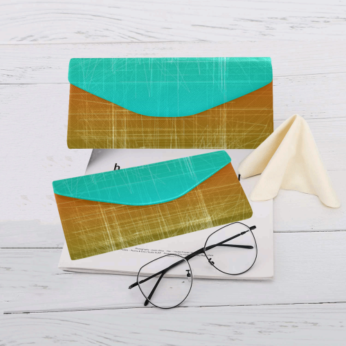 Retro Glitch in Green and Orange Custom Foldable Glasses Case
