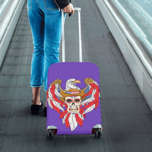 "American Eagle Sugar Skull Purple Luggage Cover/Small 18""-21"""