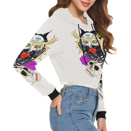 Owl Sugar Skull White All Over Print Crop Hoodie for Women (Model H22)