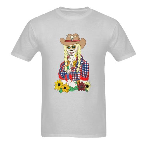 Cowgirl Sugar Skull Grey Men's Heavy Cotton T-Shirt (Plus-size)