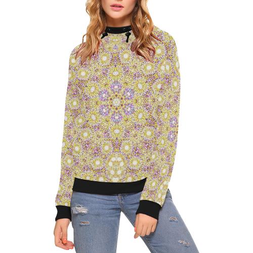 Golden 2 High Neck Pullover Hoodie for Women (Model H24)