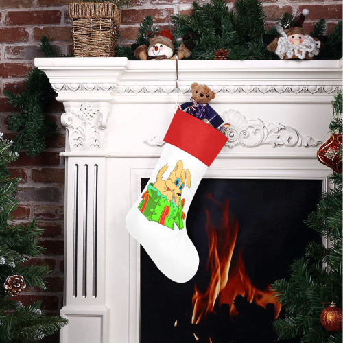 Christmas Puppy White/Red Christmas Stocking
