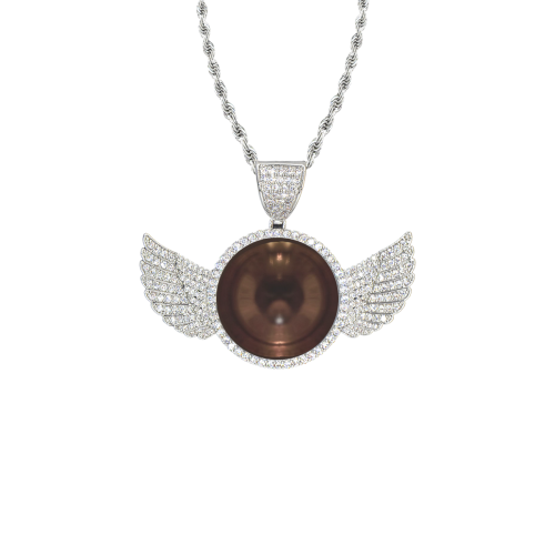 Ring Of Copper Wings Silver Photo Pendant with Rope Chain