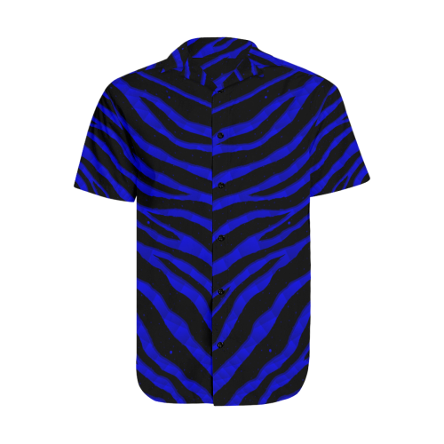 Ripped SpaceTime Stripes - Blue Men's Short Sleeve Shirt with Lapel Collar (Model T54)
