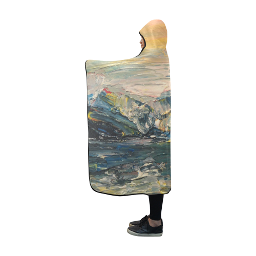 Mountains painting Hooded Blanket 60''x50''
