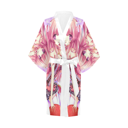 Japanese Hand Painted Anime Girl Satin Kimono Robe