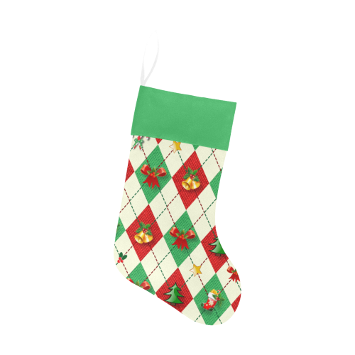 Christmas Argyle Pattern Green Top Christmas Stocking
