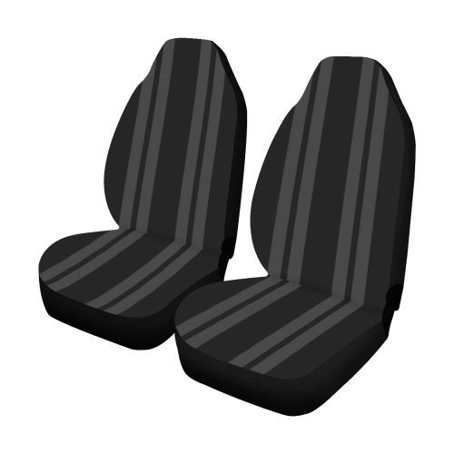 Gray/Black Vertical Stripes Car Seat Covers (Set of 2)