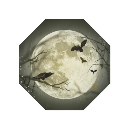 A Full Moon Night With Bats And Crow Anti-UV Auto-Foldable Umbrella (Underside Printing) (U06)