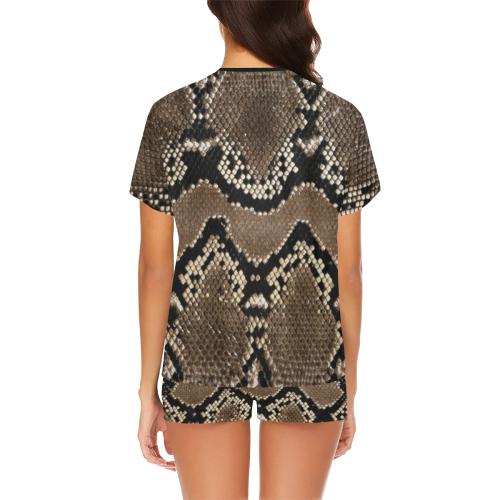 Snakeskin Pattern Dark Brown Women's Short Pajama Set (Sets 01)