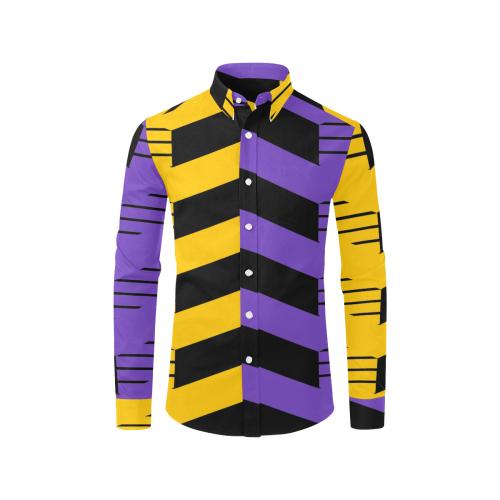 Purple-YLwBack Men's All Over Print Casual Dress Shirt (Model T61)