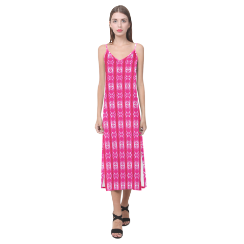 Pink Lavaxed V-Neck Open Fork Long Dress(Model D18)