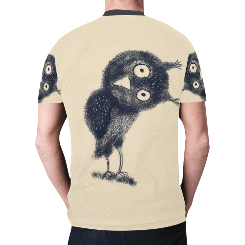 cute owl bird animal funny drawing art New All Over Print T-shirt for Men/Large Size (Model T45)