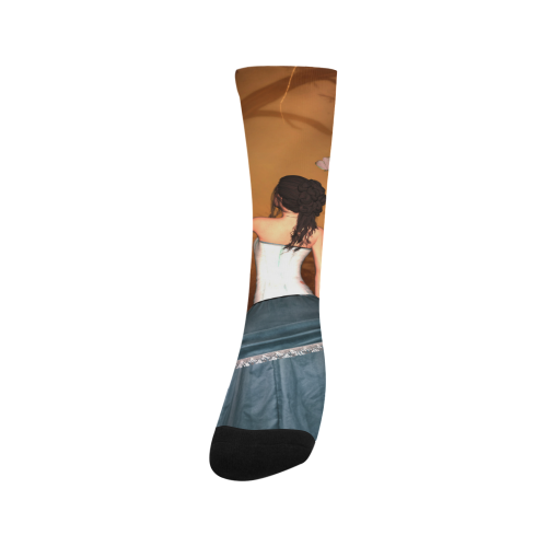 Fairy with fantasy bird Trouser Socks (For Men)