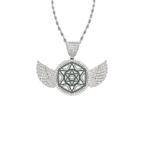 maguen 2 Wings Silver Photo Pendant with Rope Chain