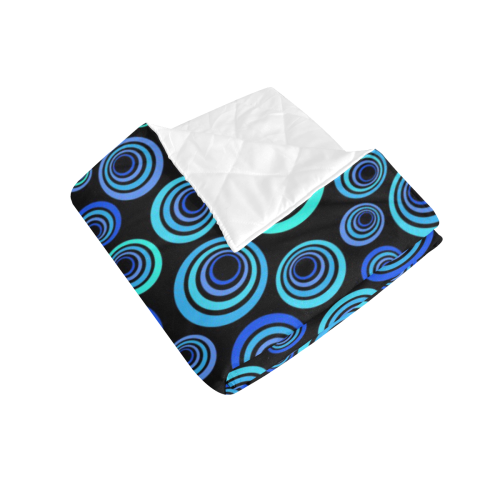"""Retro Psychedelic Pretty Blue Pattern Quilt 50""""x60"""""""