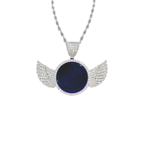 Mid-Nite Sapphire Wings Silver Photo Pendant with Rope Chain