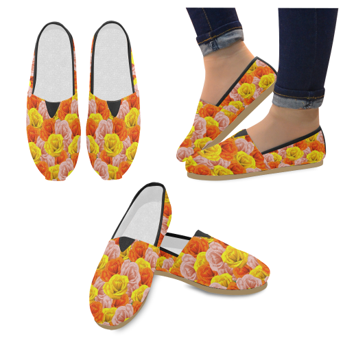 Roses Pastel Colors Floral Collage Unisex Casual Shoes (Model 004)