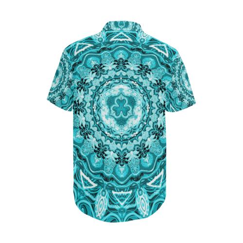 RUSSIAN MANDALA 15 Men's Short Sleeve Shirt with Lapel Collar (Model T54)
