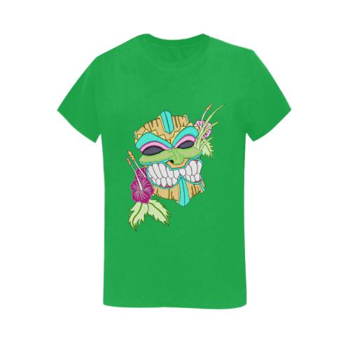 Tropical Tiki Mask Irish Green Women's Heavy Cotton Short Sleeve T-Shirt