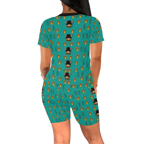 Happy rabbits in the green free grass Women's Short Yoga Set (Sets 03)